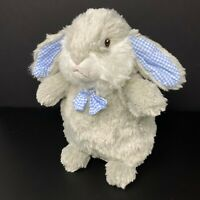 Pier 1 One Imports Bunny Rabbit Plush Gray Blue Gingham BowTie Flop Ear Standing
