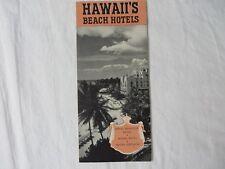 Vtg Brochure Hawaii's Beach Hotels 1940 Royal Hawaiian Moana Hotel #7348