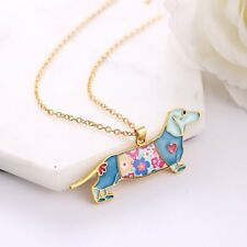 Fashion Colorful Dachshund Dog Enamel Pendant Necklace Chain Women Jewelry New