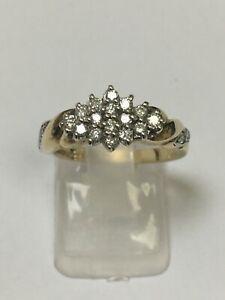 Stunning 9 Carat Yellow Gold DIAMOND CLUSTER Ring 0.33 carats