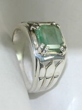2.94 Ct Natural Green Emerald 3.5 Ratti Colombia 92.5 S Silver Astrological Ring
