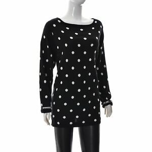H&M Women Boat Neck Black/White Spotted Long Sleeve Tunic Top Size 2XL Authentic