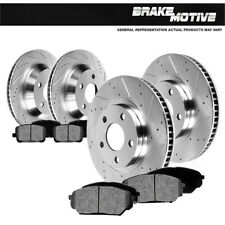 Front & Rear 4 Drilled Slotted Brake Rotors And Metallic Pads F250 F350 4WD 4X4