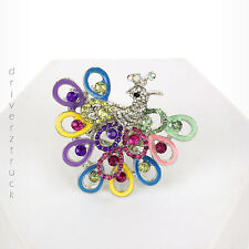 CANDIE'S Multi-Color RING PEACOCK Faux CRYSTALS Bird SILVER Tone STRETCH RING