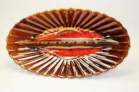 Ceramic Mid Century Modern Brown Drip Glaze Flower Pattern Ashtray made in USA