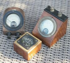 3 x Mounted Vintage Ammeter and Volt Meters