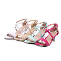 Ladies Synthetic Leather Shoes Med Heels Buckle Strap Pumps Sandals AU Size s403