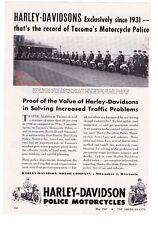 "1947 Vintage Harley Davidson Police Motorcycles ""Tacoma, Washington"" Print Ad"