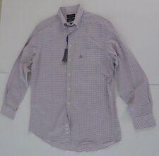 Covington White Burgundy Checks Dress Shirt Size 15 1/2 34/35 Classic Fit Men's