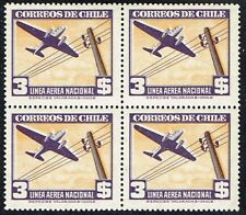 CHILE 1948 AIR MAIL STAMP # 394 MNH wmk 3 (VIOLETA Y NARANJA) BLOCK OF FOUR !!!