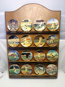 Legends of Baseball Bradford Exchange Complete Set of 16 Mini Plates & Display
