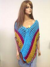 Hand Knit Shawl Wrap Stole Scarf Designer Fashion Bohemian Four Season  Terqouis