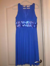 NWOT JS Boutique Cutaway Shoulder Beaded Waist Dress  SZ10 Cobalt