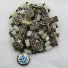 """† RELIC 'ST CATHERINE LABOURE"""" CRUCIFIX & """"GUILLOCHE"""" LOCKET ON VINTAGE ROSARY †"""