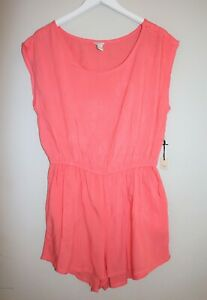 FOREVER 21 Brand Coral Elastic Waist Side Pocket Playsuit Size L BNWT #SS105