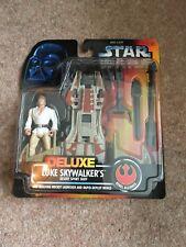 Star Wars Deluxe Luke Skywalker del desierto Sport bote, y tarjeta roja figura 1996