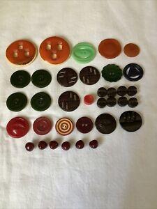 35 Vintage Bakelite Buttons Red Green Black Orange Brown Sets Singles