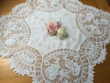 Antique/Vintage Drawn Threadwork White Embroidered Ribbon Lace Tablecloth.