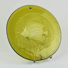 Zwiesel Kristallglas Teller Glasteller Motiv Fisch grün Handarbeit plate Germany