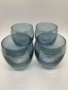 Four Blue Juice Glasses Made In Poland