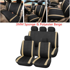 9Pcs Car Seat Cover Front Rear Full Set Universal 3MM Sponge & Polyester Beige