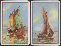 Pair Playing Cards 2x Single Card Old SAILING BOAT YACHT Art Picture SEA BOATS 2