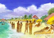 Club Orient 2007, Orient Beach St Martin watercolor print, 3 sizes, Frenchy Loeb