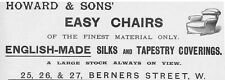 HOWARD & SONS Berners St, London; Easy Chair Makers - Antique Advert 1893