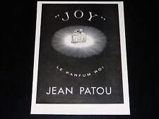PUBLICITE -  PARFUM - JOY - JEAN PATOU -  1937 - PRESSE - ADVERTISING