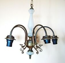 Vintage antique brass & glass chandelier ceiling light 5 stems Retro lighting