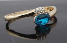 Quality Aqua Gemstone Gold Bangle Hinged Opening clip fastening Crystal Bracelet