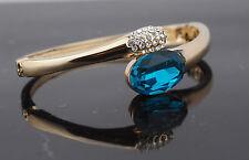 Quality Aqua Gemstone Gold Bangle Hinged Opening clip fastening Crystal Bracelet