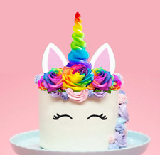 Large Unicorn Rainbow Horn Flowers Edible Cake Topper Decorations Pre-Cut  #145