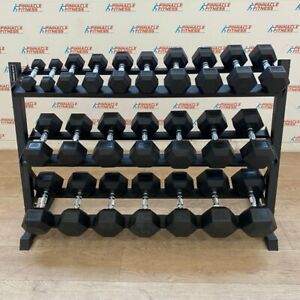 Hex Rubber Dumbbell Set (2.5kg to 30kg) with Rack