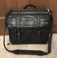 Samsonite Vintage Leather Flap Over Laptop Messenger Bag Briefcase  Black