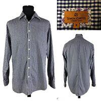 SIMON CARTER Slim Fit Men's Blue White Check Long Sleeve Casual Cotton Shirt M