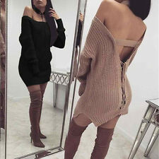 UK Women Winter Bandage Knit Sweater Dress Backless Jumper Pullover Cardigan Khaki L