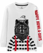 New Carter's Boys Happy Howl-A-Days Lumber Jack Wolf Top NWT 2 4 6 7 8 12 year
