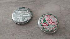 Vintage Bailey Farm Dairy Glass Bottle Milk & Egg Nog Lids (2), St. Louis