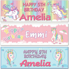 2 personalised birthday banner unicorns star rainbow children kid party poster