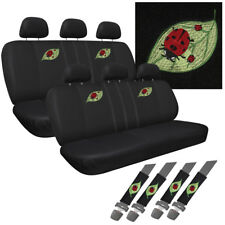 DOUBLE 8pc Set Beetle Lady Bug CAR Seat Cover Front Benches Back Buckets 2x DD11
