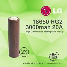 2x New LG HG2 18650 3000mAh High Drain 20A Rechargeable Lithium Battery Flat Top