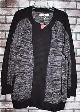 NWT Hanna Andersson Women's Marbled Zip Cardigan Black L