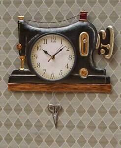 Retro Metal Sewing Machine Pendulum Wall Clocks Craft Room Sewing Machine Clock