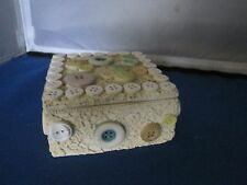 Square Resin Button and lace box trinket