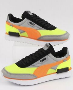 PUMA Future Rider Black orange yellow Men's Trainers uk 9 Retro Neon