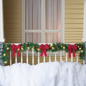 8 Ft Solar Lighted Decorated Ornaments & Red Bows Pine Christmas Garland