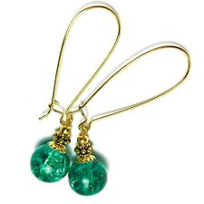 Extra Long Gold Earrings Jade Green Crackle Glass Bead Drop Dangle Kidney Wires