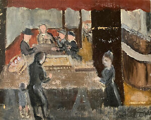 GENEVIEVE ZONDERVAN (1922-2013) FRENCH OIL PAINTING - 1950'S CAFE INTERIOR SCENE