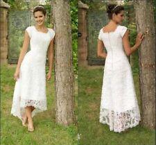 Vintage Hi-Lo Boho Lace Wedding Dresses Country Bridal Gowns Beach Custom Size+